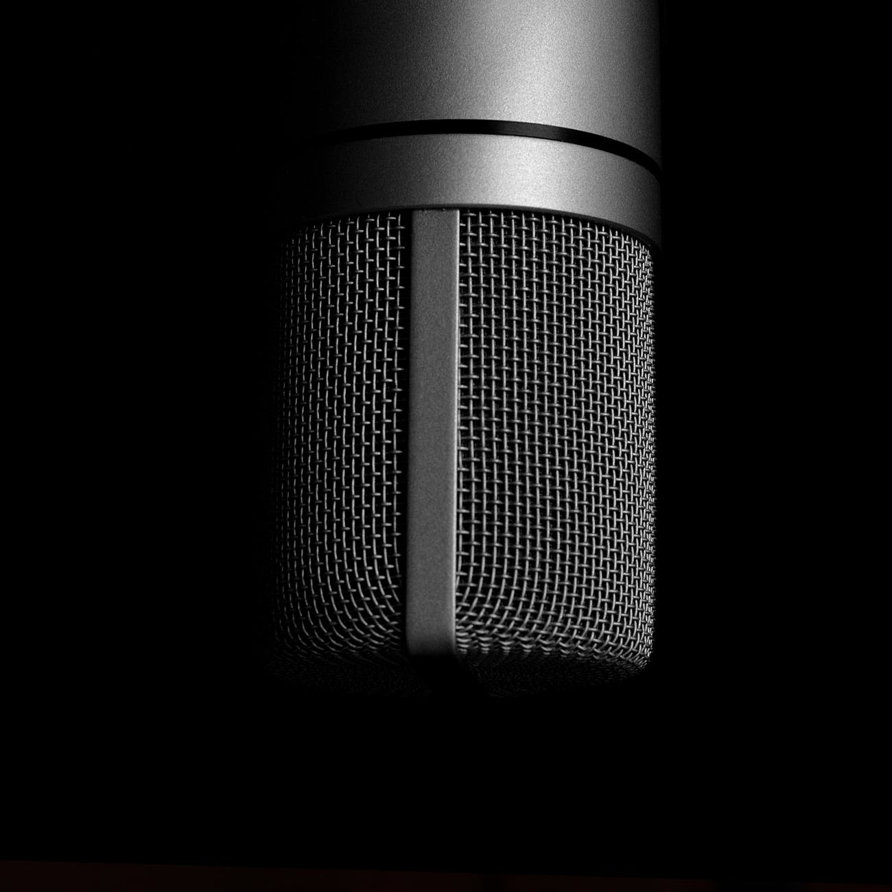 grey condenser microphone close up photography